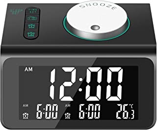 Alarm Clock for Heavy Sleepers,Alarm Clock Radio with Two USB Charger|Alarm Clock for Bedrooms with FM,Digital Alarm Clock with Dual Alarm Clock,Sleep Timer, Dimmer and Battery Operated