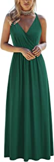 OUGES Womens Summer Deep V Neck Floral Adjustable Spaghetti Strap Beach Maxi Dress
