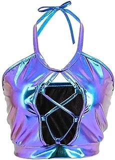 C.C-US Women Rave Crop Top Holographic Halter Neck Tank Top Criss Cross Vest for Dance Party Clubwear