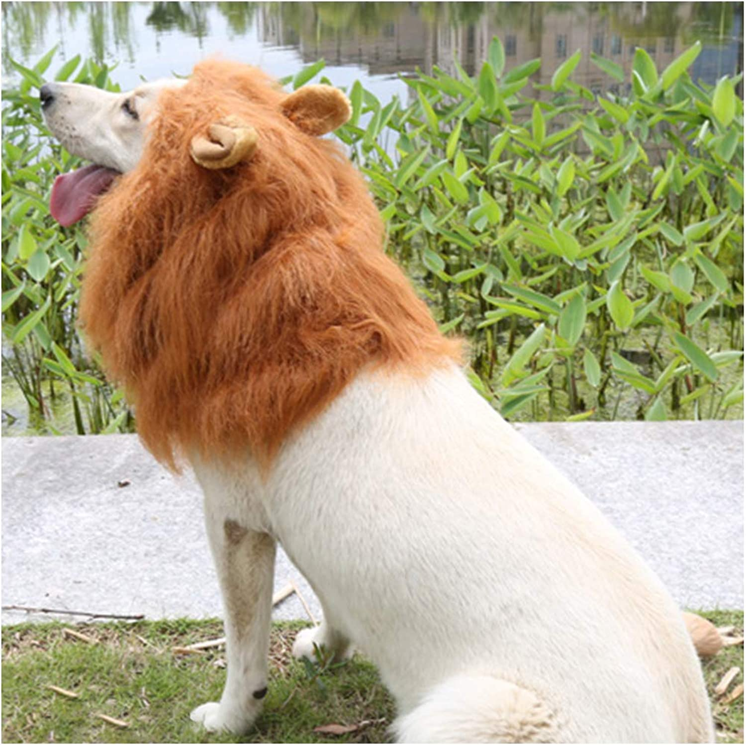 Halloween Dog Lion Mane Wig Costume Christmas Dog Lion Hair Adjustable Washable Funny Fancy Puppy Dress Up Realistic Dog Hair Mane Cospaly Costume for Holiday Photo Shoots Party Ears and Tail Brown