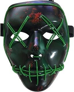 Knowing LED Máscaras Adultos Cosplay Sin Batería con 4 Modos para Halloween la Fiesta de Disfraces la Navidad (Verde)