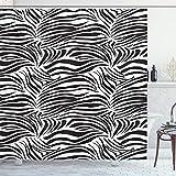 ABAKUHAUS Schwarz-Weiss Duschvorhang, Wilde Zebra-Linien, Wasser Blickdicht inkl.12 Ringe Langhaltig Bakterie & Schimmel Resistent, 175 x 200 cm, Weiß Schwarz
