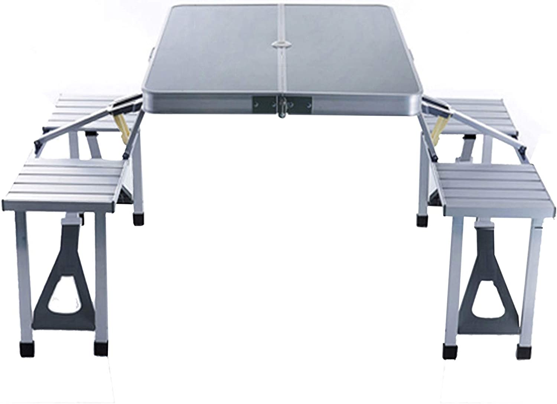 Juego de mesa y silla portátil para exteriores, mesa de picnic de aluminio, mesa de comedor con balcón para jardín y mesa de camping con 4 asientos, mesa de playa con agujero para sombrilla