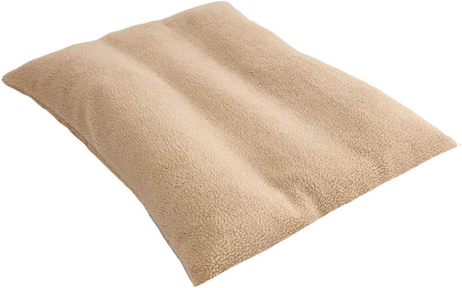 Pet Bed Cushion with Wool Fabric Cushion 2 in One Washable Pet Mat Sleeping Mattress Big Dog Crates Pad Car Seat Cover,Beige,XL