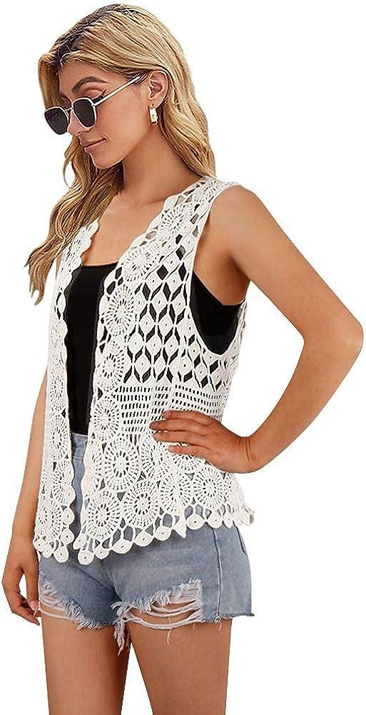 Womens Floral Crochet Lace Boho Trim Sleeveless Open Front Vest Cardigan