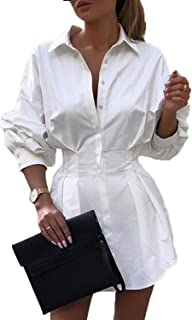 Womens Sexy Long Sleeve Button Down Cinched Waist Mini Shirt Dress