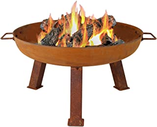 Sunnydaze Outdoor Fire Pit Bowl - Rustic Cast Iron - Small 24 Inch Wood Burning Pit - Portable with Handles - for Outside Patio & Backyard Use