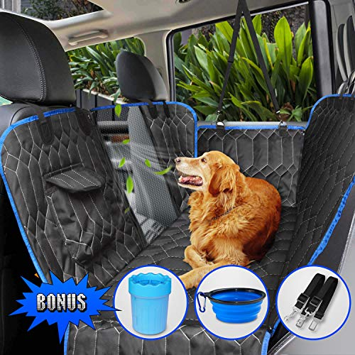 [Upgraded Version] Dog Seat Cover for Back Seat, 100% Waterproof with Mesh Window, Scratch Proof Nonslip Dog Car Hammock, Car Seat Covers for Dogs, Dog Backseat Cover for Cars Trucks SU