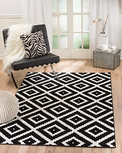 Summit 046 Black White Diamond Area Rug Modern Abstract Many Sizes Available , 4'.10' x 7'.2'