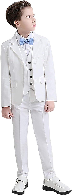 SHENLINQIJ White 3 Pieces Boys Tuxedo Suit Slim Fit Formal Dress Suit