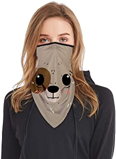 Simayixx Bandana Neck Gaiter Scarf Cute Printed Outdoor Cycling Hanging Ear Loops for Dust Face Cover Man Woman