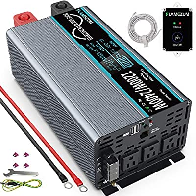FLAMEZUM Pure Sine Wave Power Inverter 1200Watt DC to AC 12V 110V Inverter 120V with Remote Control 3 AC Outlets and Dual USB Ports for CPAP RV Inverter Pure Sine Wave Solar System Emergency