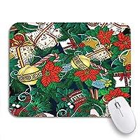 ROSECNY 可愛いマウスパッド フラワークリスマス冬抽象ベルベリーブランチブッシュお祝いノンスリップラバーバッキングマウスパッドノートブックコンピュータマウスマット