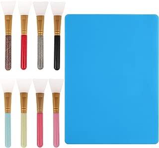 9 Pieces Glitter Tumblers Making Brush Sets, 8 Colors Epoxy Brush Magic Brushes Silicone Epoxy Applicator Set and 1 Piece Extra-Large Silicone Sheet for Making Epoxy Glitter Tumblers DIY Tools