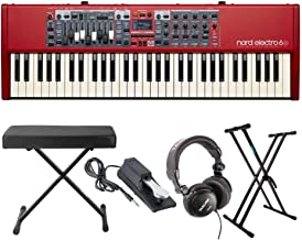 Nord Electro 6D 61 Key Semi-Weighted Action Keyboard with Knox Keyboard Stand, Bench, Sustain Pedal and Headphones (5 Items)