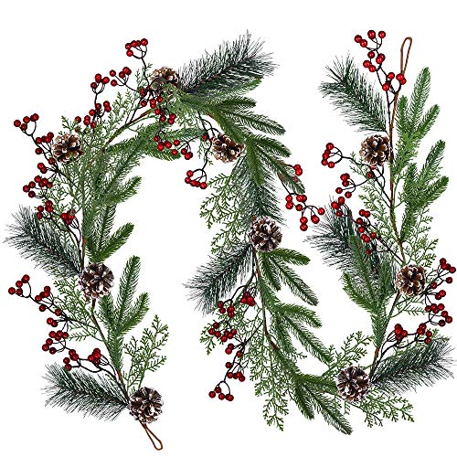 Christmas Artificial Pine Garland with Spruce Cypress Berries Frosted Pinecones Winter Greenery Garland for Holiday Season Mantel Fireplace Table Runner Centerpiece Decoration 6.6 feet