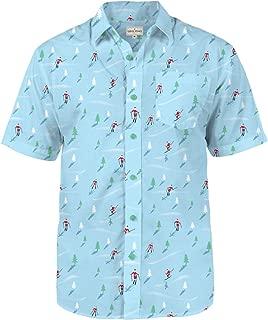 Tipsy Elves Men's Christmas Hawaiian Shirt - Warm Weather Xmas Hawaiian Shirt with Santa Claus