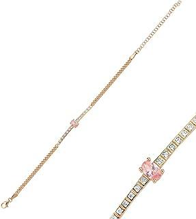 925 Sterling Silver Chain Bracelet/Silver Bracelet for Teen Girls,Women/Size 20cm/Super Thin Chain Bracelet/Comes with Zir...