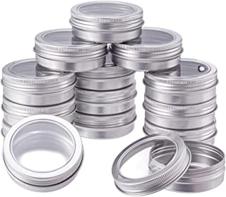 BENECREAT 14 Pack 2 OZ Tin Cans Screw Top Round Aluminum Cans Screw Lid Containers with Clear Window - Great for Store Spices, Candies, Tea or Gift Giving (Platinum)