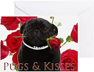 CafePress Pugs And Kisses Greeting Card, Note Card, Birthday Card, Blank Inside Matte