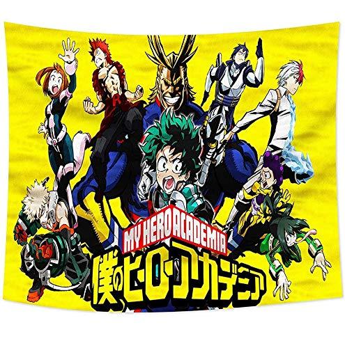 KKSJK My Hero Academia Tapestry Wall Hanging Panno, Anime Tapestry Cartoon Wall Cloth Large Size Stampa 3D per Soggiorno Camera da Letto Decorazione Domestica Regali Anime 59x70in (Giallo)