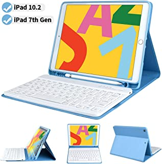 iPad Keyboard Case 7th Generation 2019 Released for iPad 10.2 inch - COO Wireless Bluetooth Keyboard Detachable - Built-in Pencil Holder - Auto Sleep-Wake Cover (Sky Blue for 10.2 iPad)