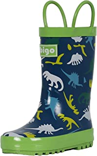 hibigo Children's Natural Rubber Rain Boots with Handles Easy for Little Kids & Toddler Boys, Pattern …