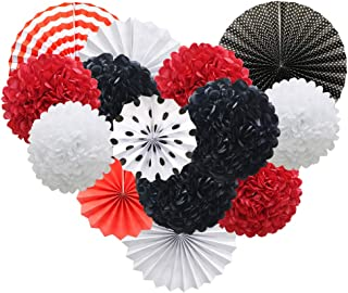 Red White Black Hanging Paper Party Decorations, Round Paper Fans Set Paper Pom Poms Flowers for Mickey Mouse Theme Ladybugs Birthday Graduation Baby Shower