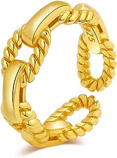 سوار حلقي مفتوح بشكل سلسلة مطلي بالذهب عيار 18 قيراط من الفضة الاسترلينية بتصميم بسيط قابل للتعديل للنساء من نيروس