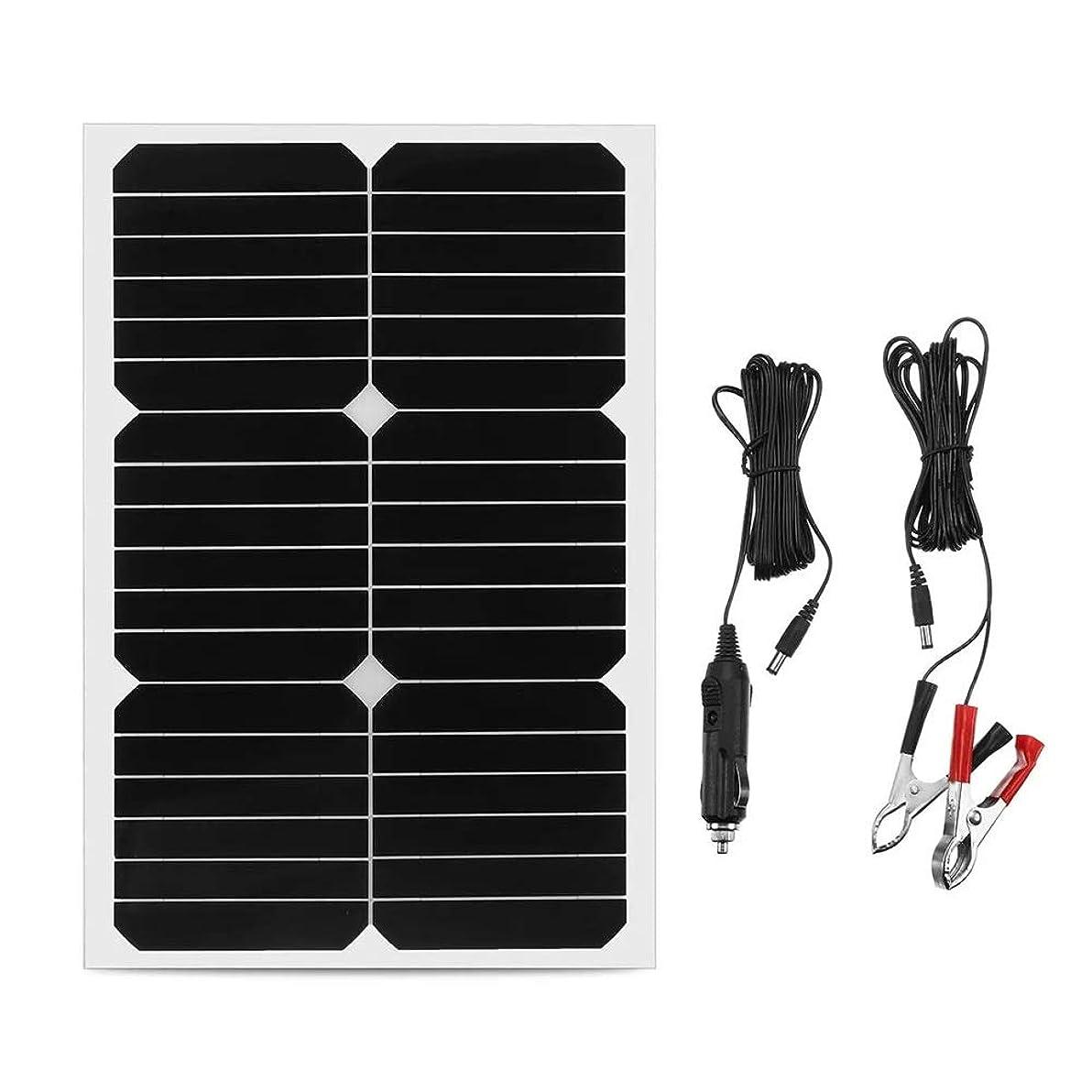 溶ける規定とても多くのソーラーパネル ソーラーパネル20W 12Vモノシリコンセミフレキシブルな太陽電池パネルのw /ケーブルワニクリップ検出器 (Color : Black, Size : 20W)