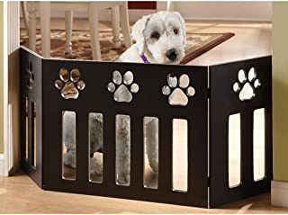 Pet Store Wooden Paw Decor Pet Gate (Black)