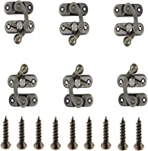 ONLYTU 6PCS Antique Right Latch Hook Metal Lock Bronze Tone Decorative Hook Hasp Lock for Gift Wooden Jewelry Chest Box with Screws (28mm X 34mm)