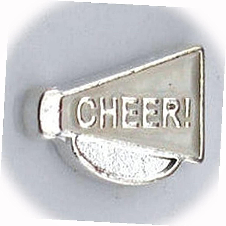 New Cheer White Enamel Bargain Megaphone for Silver 10mm Floating High order Charm