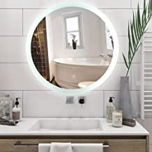 Silver HD Round Smart Mirror with White LED Strap Wall Mounted Anti-Fog Eco-Friendly Bathroom Corridor Bedroom