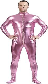 D DOLITY Shiny Spandex Full Body Suit Second Skin Bodysuit Zentai Unitard Pink XXL