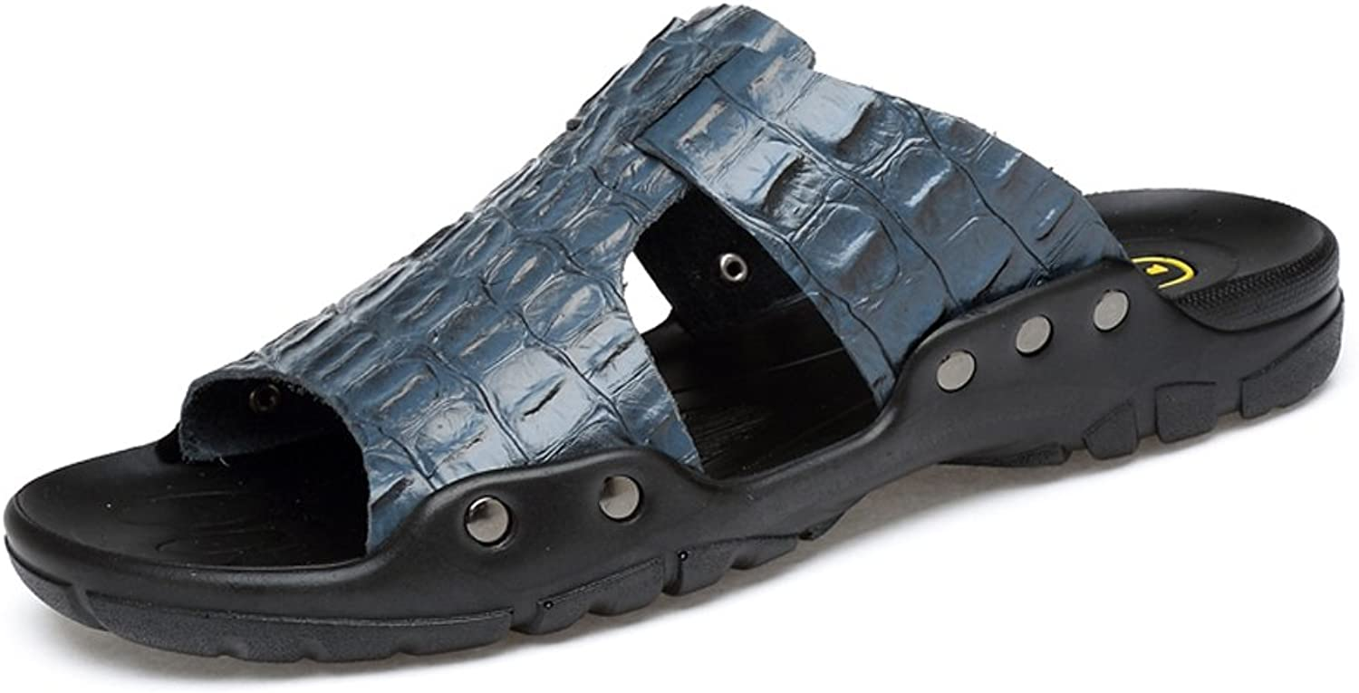 Mens Slippers Genuine Cowhide Leather Beach Slippers Casual Non-Slip Sandals shoes with Crocodile Texture (color   blueee, Size   13.5MUS)