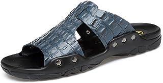 Men's Genuine Leather Beach Slippers Faux Crocodileskin Texture Non-slip Sandals for Men Yangjilanfqq (Color : Blue, Size : 49 EU)