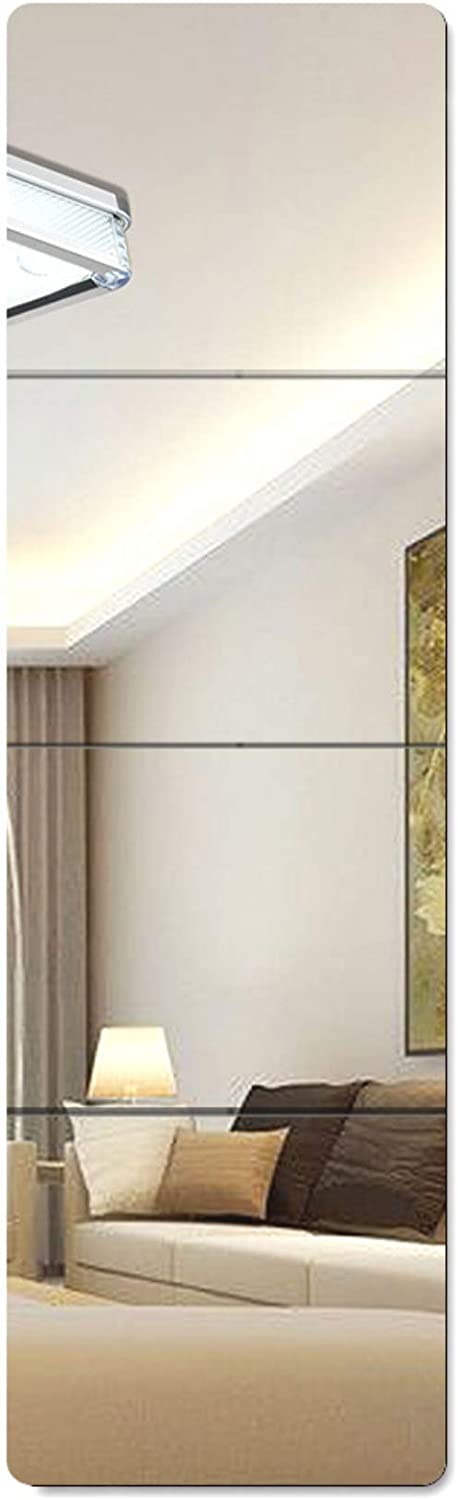 Lecerent Full Length Wall Mirror with Acrylic Adhesive Tapes 4pcs Frameless Body Mirror Tiles for Bedroom Bathroom Home Gym Closet Door