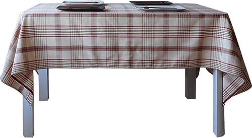QINGTAOSHOP Rotes  zügiges Plaidmuster Baumwollmaterial Kaffeetischtischdecke, Tischdecke des britischen Art kann besonders angefertigt Werden (Größe   135  220cm)
