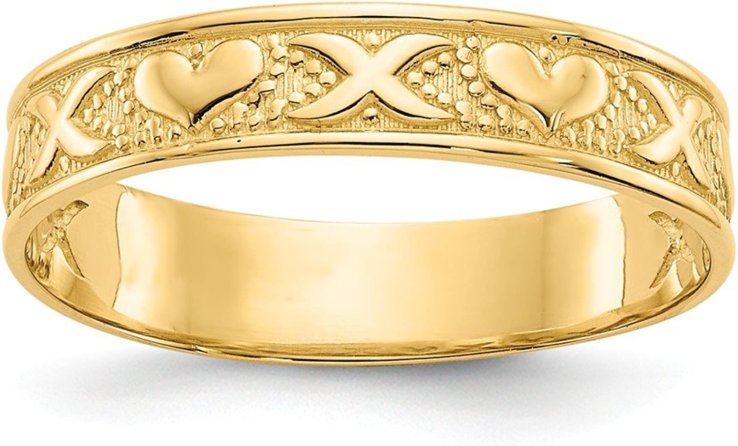 Beautiful Yellow gold 14K Yellowgold 14K X and Heart Embossed Ring