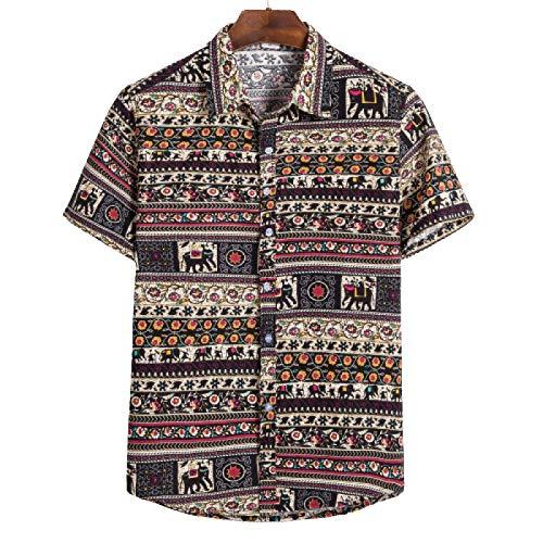 Camisetas de Manga Corta para Hombre con Estampado étnico Retro de Gran tamaño de algodón y Lino Transpirable Camiseta Personalizada de Verano 4X-Large