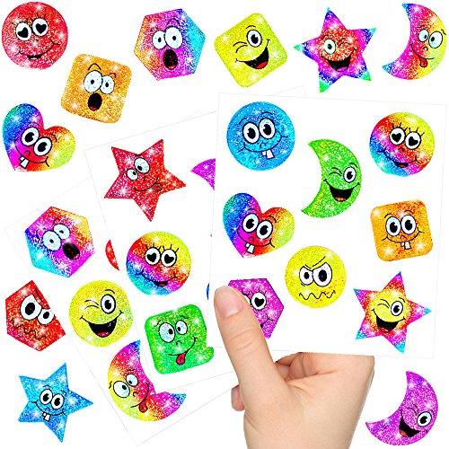 German-Trendseller ® - Kleine Glitzer Strolche - Sticker Bögen ┃ NEU ┃ Kindergeburtstag ┃ Mitgebsel ┃ Regenbogen ┃ Aufkleber für Kinder ┃ 12 Bögen