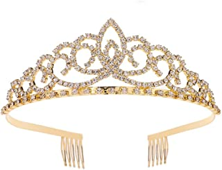 Royal Crystal Tiara Crowns Hair Jewelry Wedding Pageant Bridal Princess Headband Gift Gold