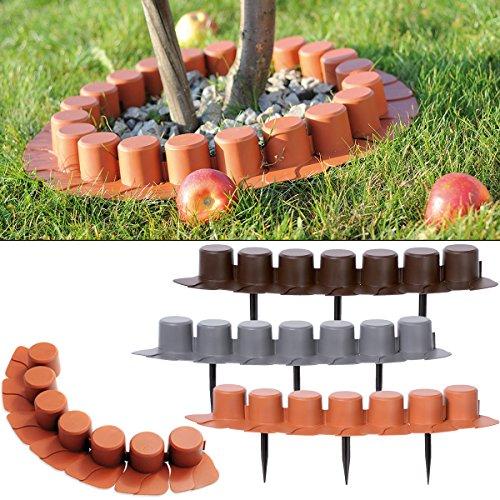 Deuba Rasenkante Palisade Beeteinfassung Kante grau 16er Set 8,1 m elastisch witterungsbeständig Beetumrandung Garten