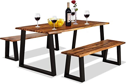 new arrival Giantex discount 3PCS Wooden Dining Set Bench Chair Rustic Indoor discount &Outdoor Furniture (Rustic Brown&Black) outlet online sale