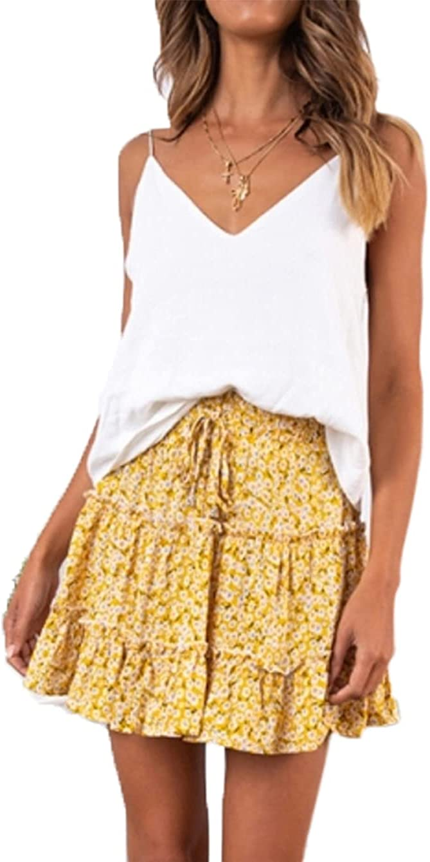 Women's Girls High Waisted Print Pleated Skirt Chiffon Floral Leopard Mini Skirt with Large Hem