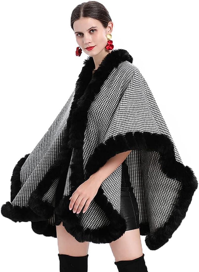 HONEST PHENIX COME Women Faux Fur Limited price Shawl Winter Cape Knit Wr OFFicial store Trim