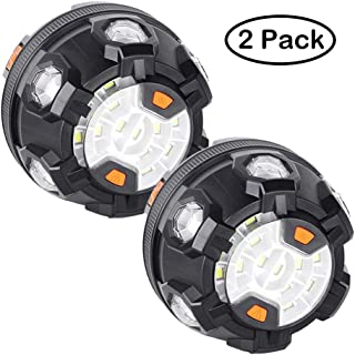LED Road Flares Emergency Lights for Warning Portable Waterproof Road Safety Flare with Magnetic Base Warning Lamp 6 Amber Color SMD LED Flashing for Car, Bike, Trucks and Boats