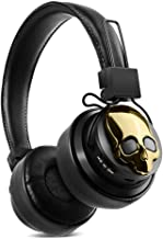 Bluetooth Headphones Over Ear, Hi-Fi Stereo Wireless Headsets & Speaker, Foldable & Soft Memory-Protein Earmuffs, Built-in Mic, TF Card, FM Radio Wired and Wireless for Cell Phone/PC - Gold
