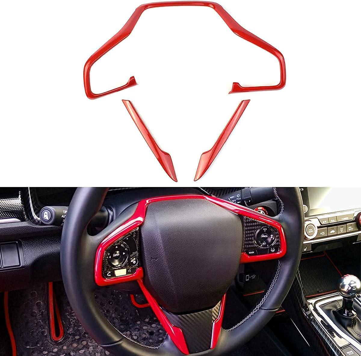 Award-winning store Max 41% OFF Steering Wheel Red Trim Sticker w Compatible Decaration Interior
